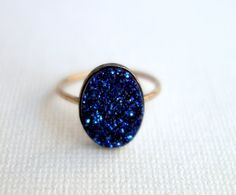love! Midnight Blue Drusy Ring on 14k Gold-Fill Band