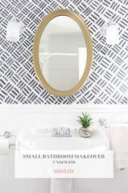 Small Bathroom Makeover The Full Before & After - Modern Bathroom Stencil, Small Bathroom, Minimalist Bathroom, Bathroom Accent Wall, Diy Bathroom Design, Rustic Bathroom Vanities, Small Bathroom Wallpaper, Bathroom Design, Small Dark Bathroom