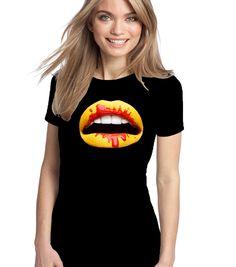 T-Shirt Lips Art- Maglietta donna manica corta, Fruit of The Loom Sofspun