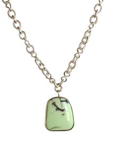 #chrysoprase pendant on silver link chain! http://deniseilitchdesigns.com/necklace/summer-breeze.html