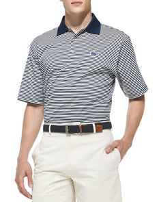 Penn State Striped Gameday College Polo Shirt, Men's, Size: X-LARGE, Blue/White - Peter Millar