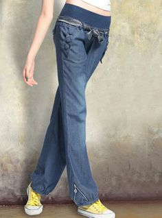 Free Shipping! The New Loose Denim Women Pants With Belt Wide Leg Jeans Bloomers Elastic Waist Bow Trousers For Women - http://www.freshinstyle.com/products/free-shipping-the-new-loose-denim-women-pants-with-belt-wide-leg-jeans-bloomers-elastic-waist-bow-trousers-for-women/