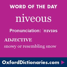 niveous (adjective): Snowy or resembling snow. Word of the Day for 22 January 2016. #WOTD #WordoftheDay #niveous