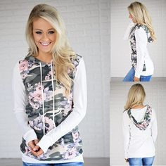 6a9e9816d0d Women Sweatshirt Floral Hooded White Casual Pullover Long Sleeve Autumn Top  S-XL White Casual