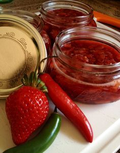 Strawberry Serrano Jam.  Perfect over basil infused cream cheese, and crackers!