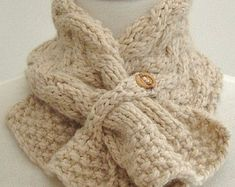KNITTING PATTERN Neckwarmer Scarf with Basket Weave Cable PDF Digital File