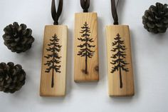 Tree Ornaments  Set of 3  Woodburning by TwigsandBlossoms on Etsy, $20.00