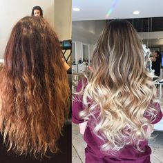 "Bye bye brassy. Were loving this ashy ombre transformation by @mell_bartemian! Mel says, ""To lighten her I used Wella lighter with 40v and 1/4 Olaplex No 1. I highlighted her full head and balayaged everything else that was out of the foils. I lifted her to a level 9 and toned her with with 9.1 & 9.22 from Pravana. Then put Olaplex No 2 on her hair."" #olaplex #modernsalon #beautylaunchpad #transformationtuesday #blondehair"