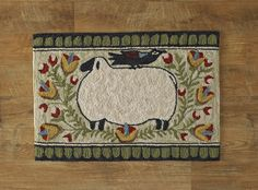 Everything Primitives - Sheep with Bird Hand-Hooked Rug, $59.95 (http://www.everythingprimitives.com/sheep-with-bird-hand-hooked-rug/)