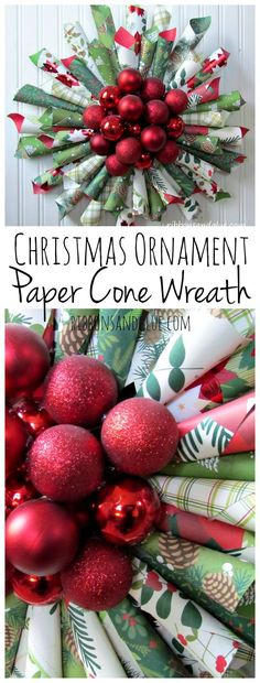 christmas ornament paper cone wreath so bright bold and perfect for the holiday season