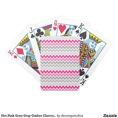 Hot Pink Grey Gray Ombre Chevron Zigzag Pattern Bicycle Playing Cards