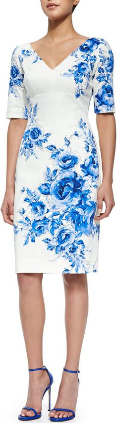 Lela Rose Floral-Print Elbow-Sleeve Sheath Dress, Blue
