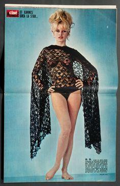 'CINEMONDE' FRENCH VINTAGE MAGAZINE BRIGITTE BARDOT INSERT POSTER 28 APRIL 1964 | eBay