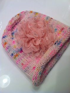 Pink Baby Hat / Hand Knit Baby Hat with by LeosLovelyTreasures, $25.00