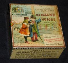° CANDY boite ancienne tôle litho 1895 tin cigarette antique DOSE Haagsche Hopje