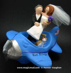 Love Airways Wedding Cake Topper by www.magicmud.com $250 1 800 231 9814 mailto:magicmud@m... blog.magicmud.com twitter.com/... www.facebook.com/... #cat#airplane#plane#pilot#wedding #cake #toppers #custom #personalized #Groom #bride #anniversary #birthday#weddingcaketoppers#cake toppers#figurine#gift#wedding cake toppers