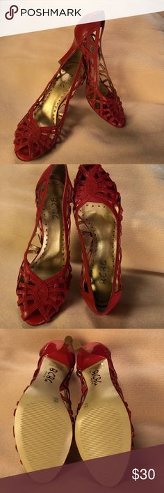 "BCBG RED SHOES BCBG True Red Cut Out Heels ➖ 3 3/4"" Heel ➖ Peep Toe ➖ Worn Once ➖ slight Black mark on Heel of Left shoe (see pic) ➖ No  Nick or cuts on Heel BCBG Shoes Heels"