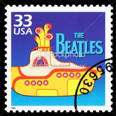 """The Beatles""  on postage stamp.  33 cents.   (lbk)"