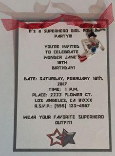 12 Custom Handmade WONDER WOMAN CHARM Inspired BIRTHDAY INVITATIONS GIRL POWER #Handmade #BirthdayChild
