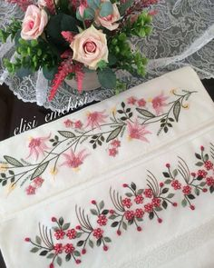 60 Likes, 1 Comments - Elisi_e Embroidery Neck Designs, Hand Work Embroidery, Hand Embroidery Stitches, Silk Ribbon Embroidery, Crewel Embroidery, Floral Embroidery, Embroidery Patterns, Lace Beadwork, Brazilian Embroidery
