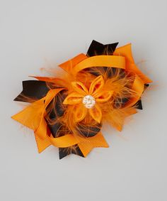 Take a look at this Orange Sparkle Feather Bow Clip on zulily today!