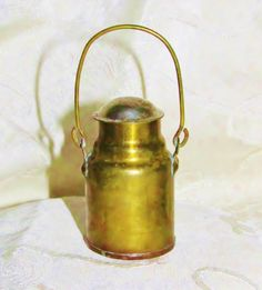 Child's Antique Miniature Brass Milk Pail: c1902: Handmade by Emil H Baessler is offered by Yesteryears Accents on rubylane.com/shop/yesteryearsaccents.