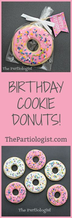 The Partiologist: Birthday Cookie Donuts! Donut Birthday Parties, Birthday Cookies, Birthday Fun, Birthday Ideas, Iced Sugar Cookies, Sugar Cake, Cookie Recipes, Cookie Ideas, Themed Cupcakes
