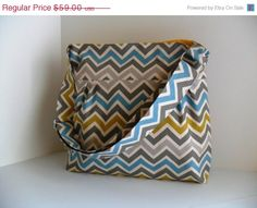 SALE Large Diaper Bag  Made of Chevron Fabric in by fromnancy