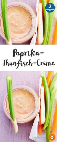 Paprika-Thunfisch-Creme, Dip, Gemüsedip, Grillen, Barbecue | Weight Watchers