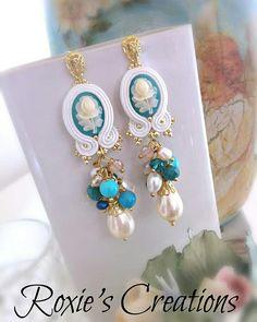 Jewelry Crafts, Jewelry Art, Beaded Jewelry, Women Jewelry, Jewelry Design, Handmade Wire Jewelry, Earrings Handmade, Shibori, Soutache Tutorial