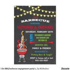 I Do BBQ barbecue engagement party invitation