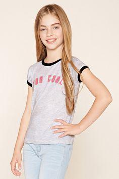 [F21 GIRLS]童装-莫代尔字母短袖T恤