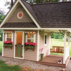 Reader Project: Permanent Playhouse Complete with insulation and electricity, this playhouse will evolve from a kid's hangout into a quiet homework spot as his girls grow up. Girls Playhouse, Backyard Playhouse, Build A Playhouse, Kids Playhouse Plans, Playhouses For Girls, Kids Outside Playhouse, Outdoor Playhouses, Large Backyard Landscaping, Cubby Houses