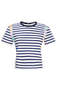 Shop Bora Stripe Boxy Tee by Tanya Taylor for Preorder on Moda Operandi