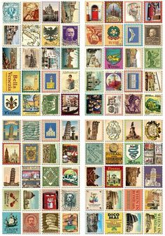 "- Each stamp features images of Italy - 80 stamps total - 4 sheets - Sheet: 5.25"" x 3.5"" Stamp: 22 x 19 mm"