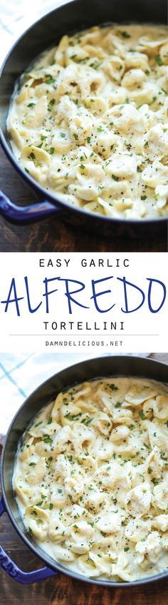 Easy Garlic Alfredo Tortellini - So simple, so easy, and just amazingly creamy. Best of all, it comes together in just 20 min from start to finish!