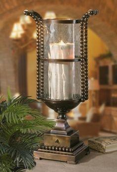 Bronze Beaded Sherise Hurricane Lamp