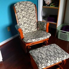 Reupholstered rocking chair for nursery