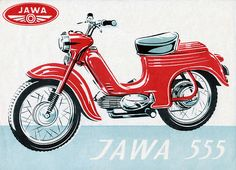 JAWA two-stroke, air-cooled Number of cylinders: single Bore: 38 mm Stroke: 44 mm Cylinder capacity: c. Moped Scooter, Motorcycle Posters, Old Motorcycles, Motor Scooters, Car Colors, 50cc, Old Bikes, Classic Bikes, Vintage Bikes