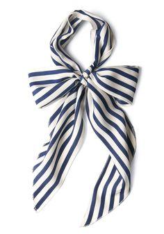 Bow to Stern Scarf in Navy Stripes   Mod Retro Vintage Scarves   ModCloth.com