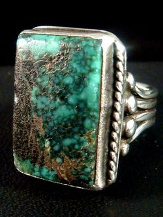 Orville Tsinnie Navajo Large Heavy Royston Turquoise Sterling Silver Ring