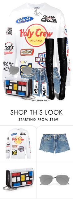 """""""Untitled #1076"""" by styledbyrudy ❤ liked on Polyvore featuring GCDS, RE/DONE, Les Petits Joueurs and Yves Saint Laurent"""