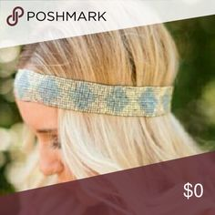 """COMING SOON! SUN SHOWER BEADED HEADBAND Will be $18 SUN SHOWER BEADED HEADBAND Over soft waves or side braids, this beaded beauty is an incredible accent piece. Featuring intricate beading and tribal inspired pattern, this headband the perfect finishing touch to your look. Crafted from seed beads and elastic Imported 10? length Fits to 23"""" around Accessories Hair Accessories"""