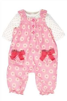 Buy Cord Daisy Dungarees Two Piece Set (0-18mths) from the Next UK online shop