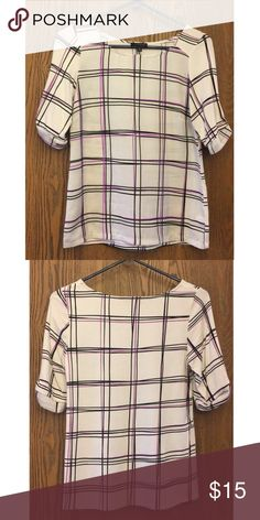 Patterned Blouse Very soft and comfortable blouse from The Limited. It has an adorable checkered pattern with black and fuchsia lines with rolled sleeve detail! The Limited Tops Blouses