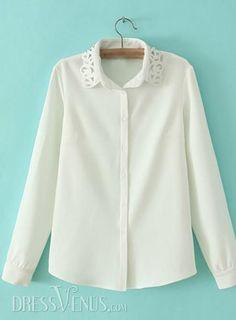 US$21.13 Retro White Laple Long Sleeves Blouse. #Blouses #Sleeves #Long #Blouse