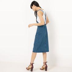 Sukienka fartuchowa z denimu wycierany R Édition | La Redoute