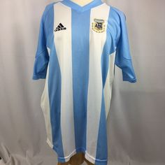 Adidas Soccer Jersey AFA Argentina Blue White Men s Size Large Football  Futball cd5c520a7dc42