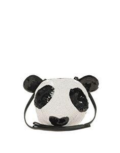 Borsa a tracolla modello panda con paillettes