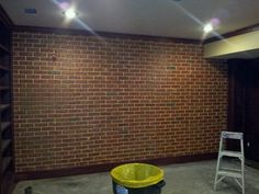 Poured concrete basement foundation.... fiance made look like old brick wall.... so awesome